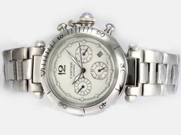 Fake Perfect Cartier Pasha Chronograph Automatic with White Dial AAA Watches [M2N1]