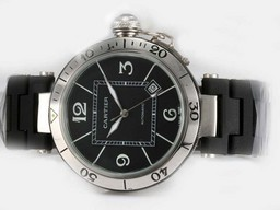 Fake Perfect Cartier Pasha Seatimer Automatic with Black Dial AAA Watches [B5X1]