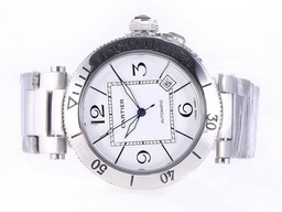 Fake Perfect Cartier Pasha Seatimer Automatic with White Dial AAA Watches [Q8L6]