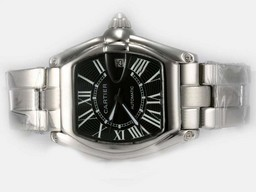 Fake Perfect Cartier Roadster Luminor Automático Con Negro Dial Relojes AAA [ C3S1 ]