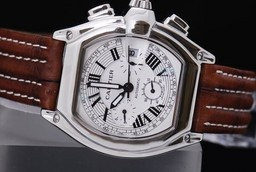Fake Perfect Cartier Roadster Working Chronograph with White Dial Man Size AAA Watches [O3X3]