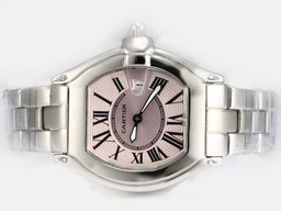 Fake Perfect Cartier Roadster Pink Dial - ladys Malli AAA kellot