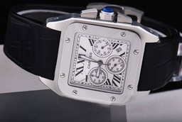 Fake Perfect Cartier Santos 100 Chronograph Quartz Movement with White Dial AAA Watches [E1S3]
