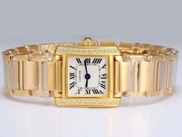 Fake Perfect Cartier Tank Full Gold with Diamond Bezel-White Dial Lady Model AAA Watches [X1V8]