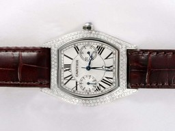 Fake Perfect Cartier Tortue Full Diamond Bezel with White Dial Lady Size AAA Watches [D3G2]