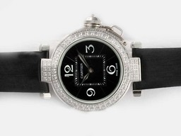 Fake Popular Cartier Pasha Automatic Diamond Bezel with Black Dial AAA Watches [Q2B1]
