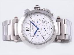 Fake Popular Cartier Pasha Chronograh Automatic with White Dial AAA Watches [I3G9]