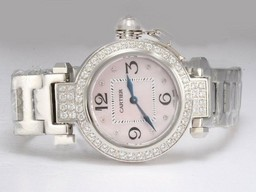 Fake Popular Cartier Pasha Diamond Bezel with Pink Dial Lady Size AAA Watches [R8J2]