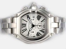 Fake Popular Cartier Roadster Chronograph Automatic with White Dial Man Size AAA Watches [V4J7]