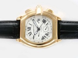 Fake Popular Cartier Roadster Chronograph Automatic Gold Case with White Dial AAA Watches [T8A8]