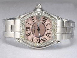 Fake Popular Cartier Roadster Diamond Bezel with Pink Dial Lady Size AAA Watches [K5K7]
