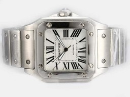 Fake Popular Cartier Santos 100 Automatic with White Dial-38MM AAA Watches [B3D1]
