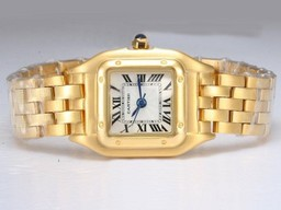 Fake Popular Cartier Santos Full Gold with White Dial Lady Size AAA Watches [W3E7]