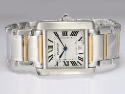 Falso Cartier Tank Popular Two Tone com Dial Branco AAA Relógios [ L5A1 ]