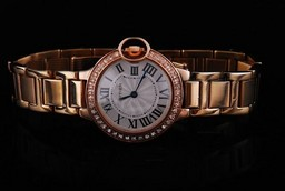 Fake Quintessential Cartier Ballon Bleu de Cartier Full Rose Gold with Double Diamond AAA Watches [D9F4]