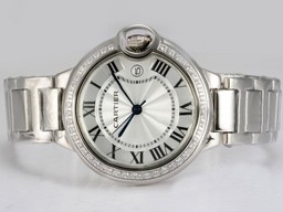 Fake Quintessential Cartier Ballon Bleu de Cartier Diamond Bezel with White Dial Med AAA Watches [T3Q5]