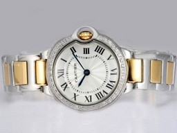 Fake Quintessential Cartier Ballon Bleu de Cartier Two Tone with Diamond Bezel-White AAA Watches [N9X3]