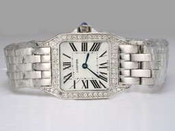 Fake Quintessential Cartier Montre Santos Demoiselle Diamond Bezel with White Dial AAA Watches [W3O8]