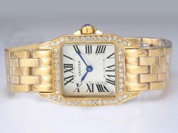 Fake Quintessential Cartier Montre Santos Demoiselle Full Gold with Diamond Bezel AAA Watches [R6W6]