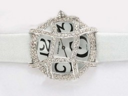 Fake Quintessential Cartier Pasha Diamond Bezel with White Dial and Strap Lady Model AAA Watches [K2O7]