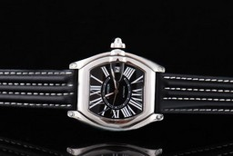 Fake Quintessential Cartier Roadster Automatic with Black Dial and Black Leather Strap AAA Watches [R8T2]