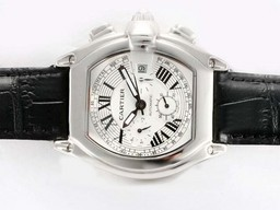 Fake Quintessential Cartier Roadster Chronograph Automatic with White Dial AAA Watches [L7U8]