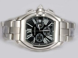 Fake Quintessential Cartier Roadster Working Chronograph with Black Dial AAA Watches [J2H2]