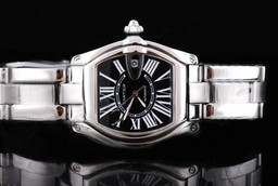 Fake Quintessential Cartier Roadster automatic with Black Dial and Ssband Strap AAA Watches [V1N5]