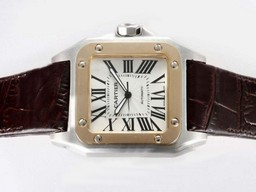 Fake Quintessential Cartier Santos 100 Automatic Two Tone with White Dial AAA Watches [J7I2]