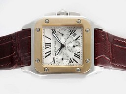 Fake Quintessential Cartier Santos 100 Chronograph Automatic Two Tone Case AAA Watches [I4S4]