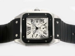 Fake Quintessential Cartier Santos 100 Chronograph Automatic with White Dial-Rubber Strap AAA Watches [X9X9]