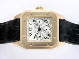Fake Quintessential Cartier Santos 100 Chronograph Automatic Gold Case with White Dial AAA Watches [T5W9]