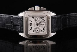 Fake Quintessential Cartier Santos 100 Automatic Movement Silver AAA Watches [Q7D1]