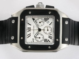 Fake Quintessential Cartier Santos 100 Working Chronograph White Dial with Rubber Strap AAA Watches [V5U4]
