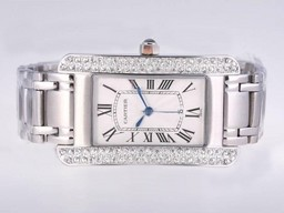 Fake Quintessential Cartier Tank Americaine Diamond Bezel with White Dial-Man Size AAA Watches [D9H4]