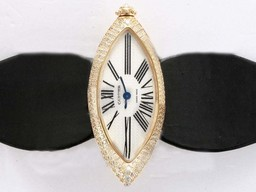 Fake Vintage Cartier Montre Calisson De Gold Case Diamond AAA Watches [T7C6]