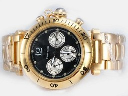 Fake Vintage Cartier Pasha Chronograph Automatic Full Gold with Black Dial AAA Watches [F1P4]