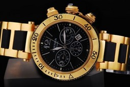 Fake Vintage Cartier Pasha Chronograph Automatic Full Gold with Black Dial AAA Watches [A4L9]
