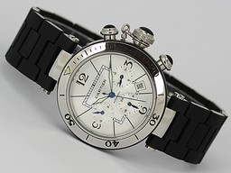 Fake Vintage Cartier Pasha Chronograph Automatic Silver Dial with Rubber Strap AAA Watches [J6I3]