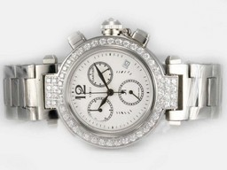 Fake Vintage Cartier Pasha Working Chronograph Diamond Bezel with White Dial AAA Watches [I6Q1]