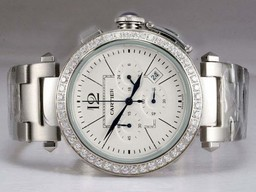 Fake Vintage Cartier Pasha Working Chronograph Diamond Bezel with White Dial AAA Watches [E5T2]