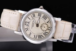 Fake Vintage Cartier Pasha Working Chronograph with White Dial and strap AAA Watches [E2H8]
