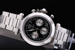 Fake Vintage Cartier Pasha Working Chronograph with Black Dial AAA Watches [T5F4]