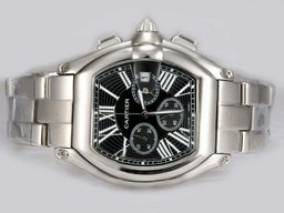 Fake Vintage Cartier Roadster Working Chronograph with Black Dial AAA Watches [V4W8]