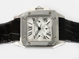 Fake Vintage Cartier Santos 100 Chronograph Automatic with White Dial AAA Watches [X8B7]