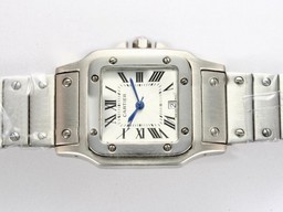 Fake Vintage Cartier Santos 100 with White Dial AAA Watches [O5D7]