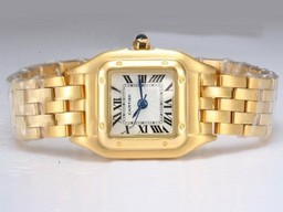Fake Vintage Cartier Santos Full Gold with White Dial Lady Size AAA Watches [E9N8]
