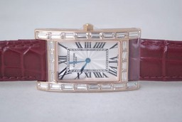 Fake Vintage Cartier Tank Quartz Rose Gold Case with Diamond and White Dial AAA Watches [V7H4]