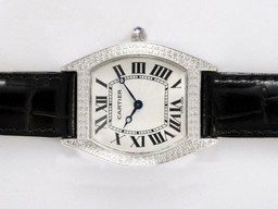 Fake Vintage Cartier Tortue Diamond Bezel with White Dial AAA Watches [G1H4]