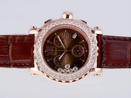 Fake Great Chopard Happy Sport Working Chronograph Rose Gold Case Diamond Bezel AAA Watches [C8J3]
